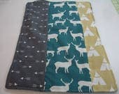 Birch Deer Teal Mustard Yellow and Gray Burp Cloth 10 x 16 READY TO SHIP On Sale
