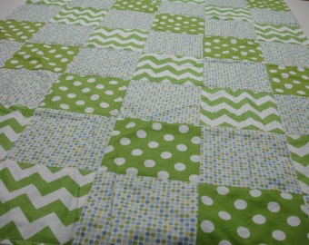 Blue and Green Chevrons and Dots Minky Blanket 38 x 50 READY TO SHIP On Sale