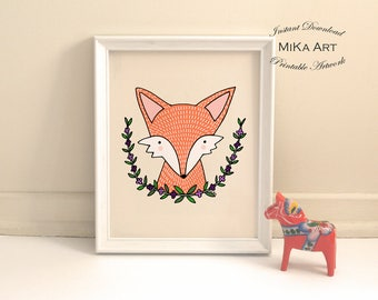 Printable Nursery Art Fox Illustration Instant Download Fox Nursery Print Neutral Nursery Woodland Pastel Children's Wall Decor Cute Fox Art