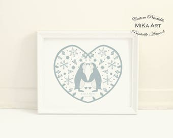 Unique Wedding Gift for Couple Penguin Art Print Personalized Digital Print File Kissing Penguins Custom Printable Wall Art Penguin Wedding