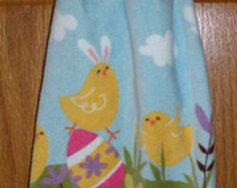 Easter Bunny Chicks Crochet Top Hanging Towel