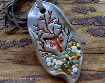 Ready to ship Woodland fox ornament rustic holiday Yule Christmas ornament polymer clay glass forest animals nature fox den sculpted