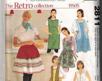 Retro 1950s Apron Mccalls 2811 Pattern 5 Styles Design Full or half bib OOP Uncut One Size Fits Most