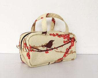 Boston Pouch / Bag in Bag /  Large Cosmetic Pouch - Sparrows in Bark