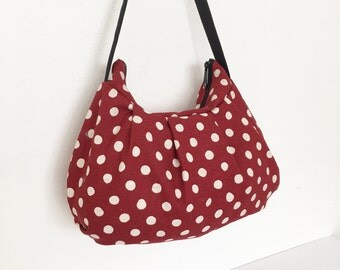 Pleated Bag // Shoulder Purse - Canvas Natural Large Dots in Red