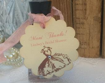 Nail Polish Tags Bridal Shower Nail Polish Favor Tags Set of 10 Mani Thanks Personalized