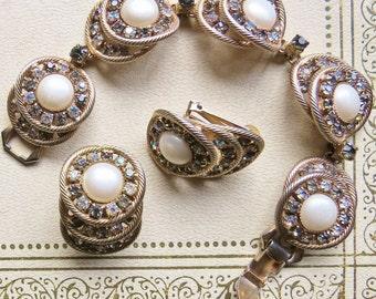 Bracelet & Matching earrings AB rhinestones goldtone marked HOBE