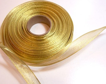 Gold Ribbon, Metallic Gold Wired Ribbon 5/8 wide x 12 yards, Offray Magic Wand Metallic Gold Ribbon, SECOND QUALITY FLAWED