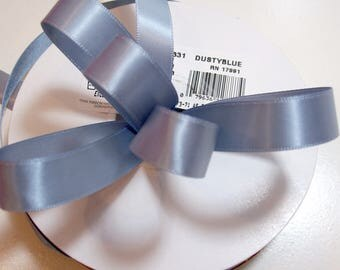 Blue Ribbon, Dusty Blue Double-Faced Satin Ribbon 5/8 inch wide x 50 yards, Offray Dusty Blue Ribbon