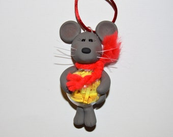 Mouse with Cheese in his Belly Polymer Clay and Glass Christmas Ornament