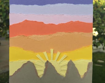 Mountain Sunrise Torn Paper Art Blank Card