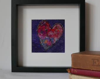 wall art, art home decor, home and living, heart, original wall art, suitable a gift for housewarming gift for mothers day, The Purple Heart