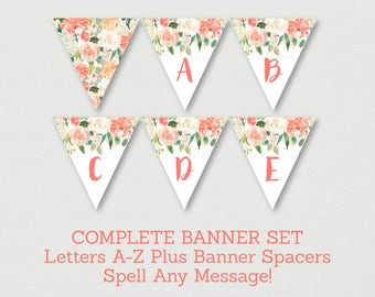 Floral Baby Shower Banner / Floral Baby Shower / Watercolor Floral / Peach Floral / Letters A-Z / DIY Pennant Banner INSTANT DOWNLOAD A163