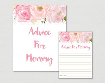 Soft Pink Floral Mommy Advice Cards / Floral Baby Shower / Watercolor Floral / Baby Shower Advice Cards / Printable INSTANT DOWNLOAD A170