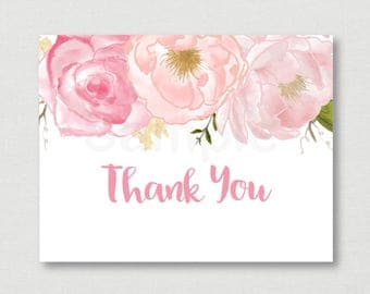 Soft Pink Floral Bridal Shower Thank You Card / Floral Bridal Shower / Watercolor Floral / Folded Card / PRINTABLE / Instant Download B108