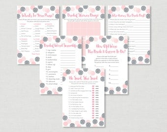 Pink & Silver Bridal Shower Games Package / Glitter Bridal Shower / Glitter Dots / Confetti / 6 Printable Games / INSTANT DOWNLOAD B111