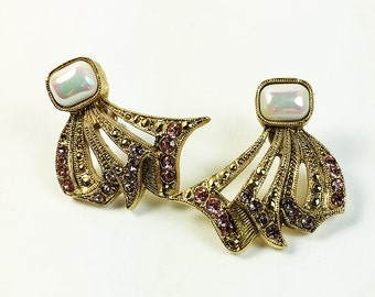 Vintage Rhinestone and Faux Pearl Pierced Gold Tone Earrings