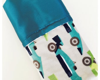 CLEARANCE SALE !!!  /  Speedster Printed Minky /  charmeuse satin / Baby boy gift / Baby shower gift