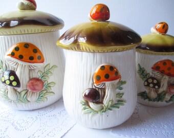 Vintage 70s Sears Merry Mushroom Retro Ceramic Canister Set of Three