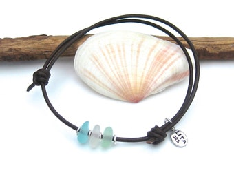 Sea Glass and Leather Adjustable Bracelet or Anklet | Sea Glass Jewelry | Sea Glass Bracelet |  Beach Glass Bracelet | Leather Bracelet
