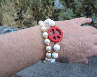 Magnesite Peace Double Bracelet