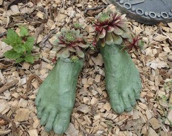Concrete Planter Goddess Planter feet (Moss) Garden Art Sculpture