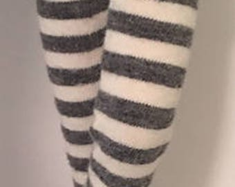 Charcoal Gray And Ivory Striped Tights For Blythe...