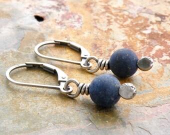 Blue Gemstone Earrings, Minimalist Blue Earrings, Matte Lapis Lazuli Dangles, Lapis Earrings, Lever Back, Sterling Silver, #4797