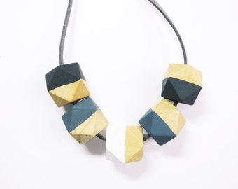 Long Grey Hexagon Necklace, Hexagon Necklace, Wooden Geometric Jewellery, Grey Necklace, Long Necklace, Teething Necklace, Gift for Her