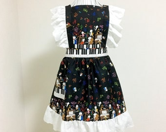 Apron / Lolita Apron / Dress Apron - Musical Cats