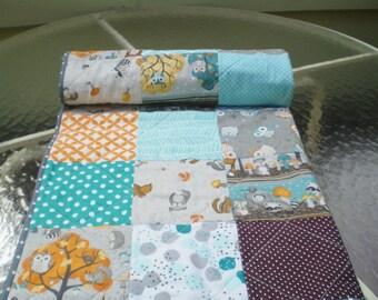 Woodland Baby quilt,baby boy bedding,baby girl quilt,rustic,teal,grey,burnt orange,handmade,raccoon,fox,owl,chevrons,toddler,More Critters