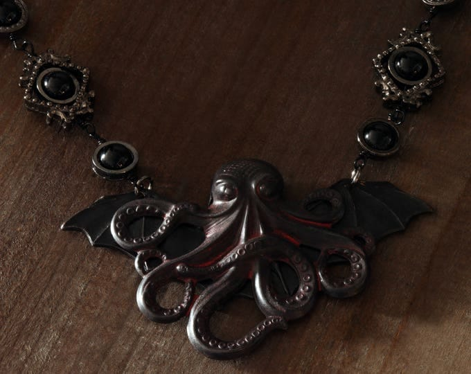 Steampunk Jewelry - Necklace - Winged Octopus - Cthulhu