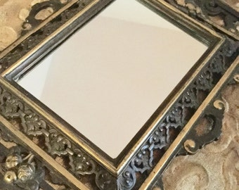 Art Nouveau Ornate Victorian Brass Frame Mirror for Wall