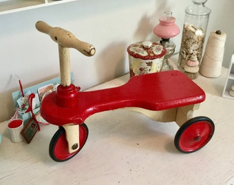 Antique Tricycle Kiddie Kar Scooter Wooden Toddler Toy Red and Cream
