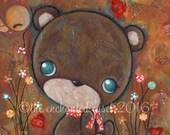 Autumn Serenade-DIGITAL ART PRINT, mixed media, bear, bird, flowers, hearts, music, whimsical, children's wall art, nursery art