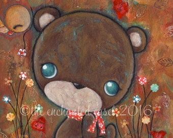 Bear Art Print, Nursery Art, Kids Room, Cute, Whimsical, Bird, Flowers, Hearts, Children's Wall Art, Gender Neutral, Love