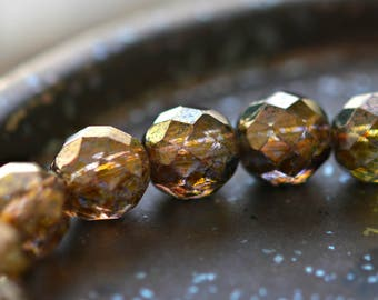 Rustic Beauty - Premium Czech Glass Beads, Transparent Gold, Smokey Topaz Luster, Fire-polish Rounds 12mm - Pc 4