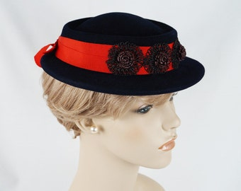 Vintage 1950s Hat Navy Blue Boater with Red Hatband by Siegels Sz 21.5