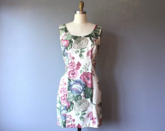 vintage floral mini dress / sleeveless wiggle dress / mini tank dress