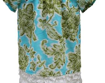 Little Girl Floral Dress, Kids Short  Sleeve Dress, Child Ruffle Dress, Toddler Blue Flower Dress, Ready-To-Ship Size 5/6