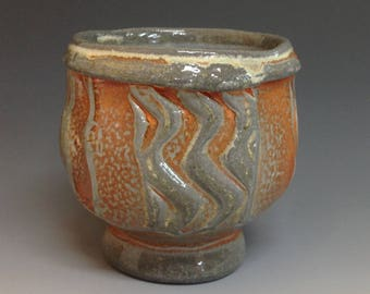 Yunomi. Faceted Pattern. Soda Fired Stoneware Pottery (#T5)
