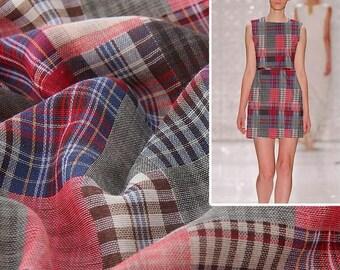4457 - Gingham Yarn-Dyed Double Gauze Cotton Fabric - 59 Inch (Width) x 1/2 Yard (Length)