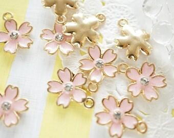 5 pcs Sakura Cherry Blossom Gold Charm (14mm18mm) Pink AZ079