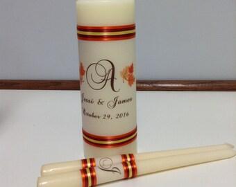 Autumn theme Monogram Wedding Unity Candle set