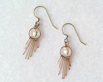 Golden Fan Earrings - Sunray earrings - Short Dangle Earrings with Crystals - Gold Brass Earrings - Tassels - Sunsun (SD1214)