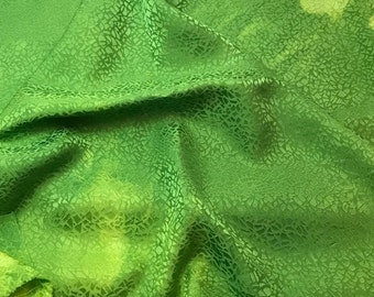 Hand Dyed Apple Green PEBBLES - Silk Jacquard Fabric - 1 Yard