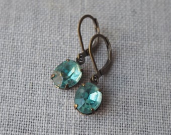 Aqua Blue Rhinestone Earrings / Dainty Blue Jewel Earrings / Brass Earrings / Wedding Jewelry / Victorian Earrings / Vintage Jewel Earrings