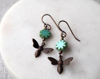 Bee Earrings / Brass Bee and Flower Earrings / Bumble Bee Earrings for the Nature Lover / Garden Bee Jewelry / Delicate Bee Earrings