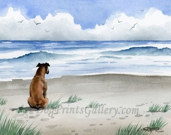 Boxer at the Beach Art Print Signed by Artist DJ Rogers