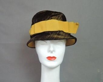 Vintage Velvet Hat Black & Gold, 1960s Bucket Cloche, fits 21 inch head